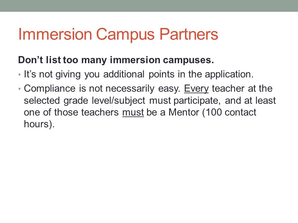 Immersion Campus Partners Don't list too many immersion campuses.