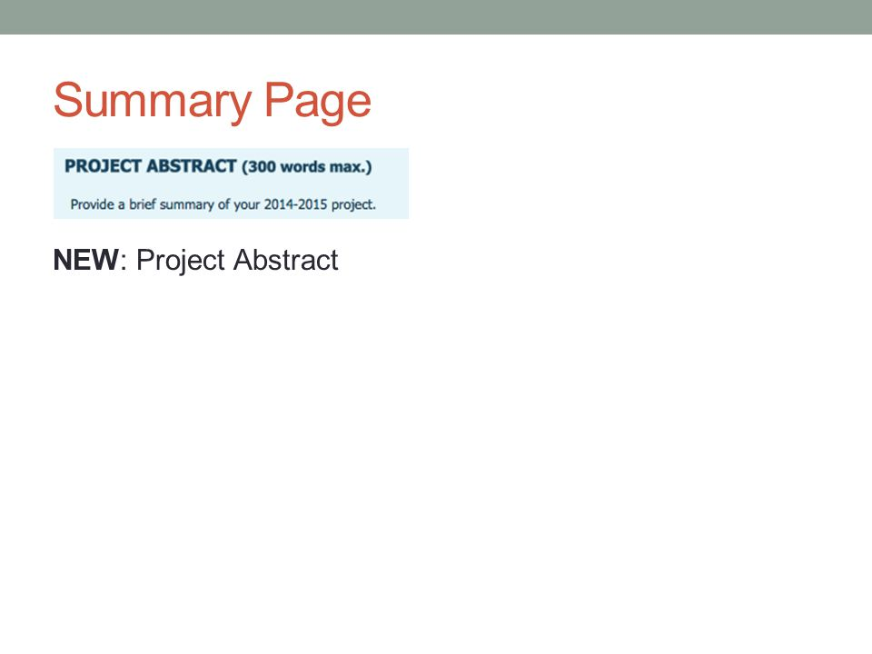 Summary Page NEW: Project Abstract