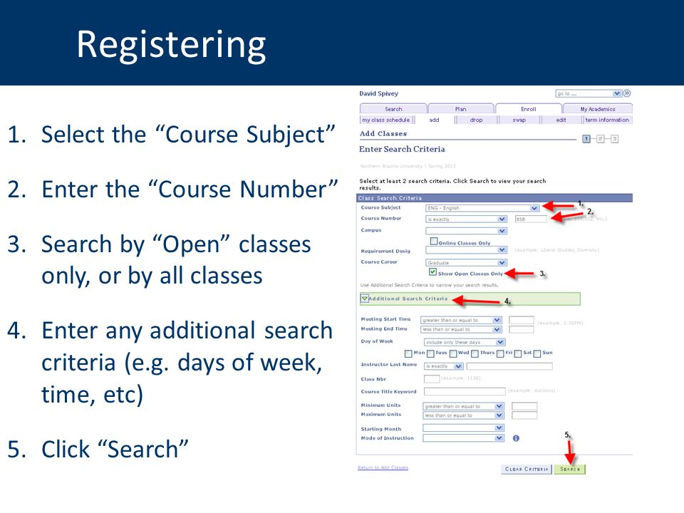 Registering 1.Select the Course Subject 2.Enter the Course Number 3.Search by Open classes only, or by all classes 4.Enter any additional search criteria (e.g.