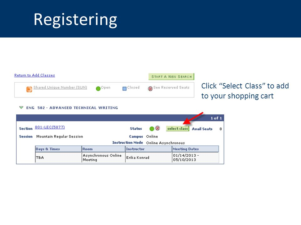 Registering Click Select Class to add to your shopping cart