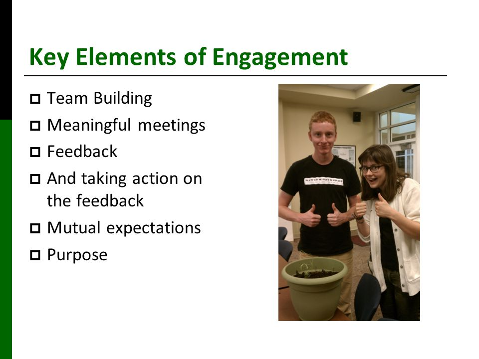 Key Elements of Engagement  Team Building  Meaningful meetings  Feedback  And taking action on the feedback  Mutual expectations  Purpose