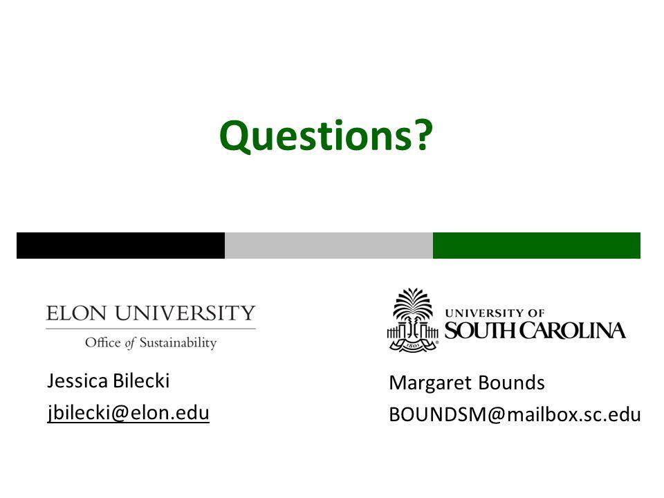 Questions Jessica Bilecki jbilecki@elon.edu Margaret Bounds BOUNDSM@mailbox.sc.edu