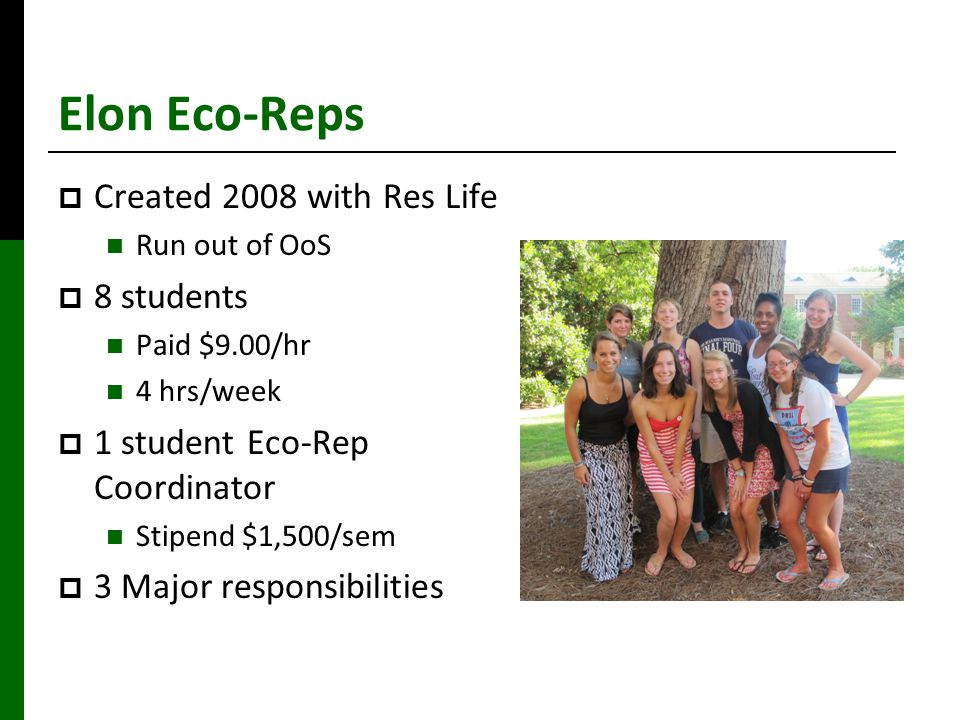 Elon Eco-Reps  Created 2008 with Res Life Run out of OoS  8 students Paid $9.00/hr 4 hrs/week  1 student Eco-Rep Coordinator Stipend $1,500/sem  3 Major responsibilities