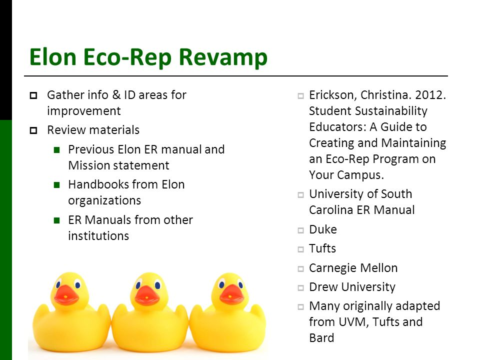 Elon Eco-Rep Revamp  Gather info & ID areas for improvement  Review materials Previous Elon ER manual and Mission statement Handbooks from Elon organizations ER Manuals from other institutions  Erickson, Christina.