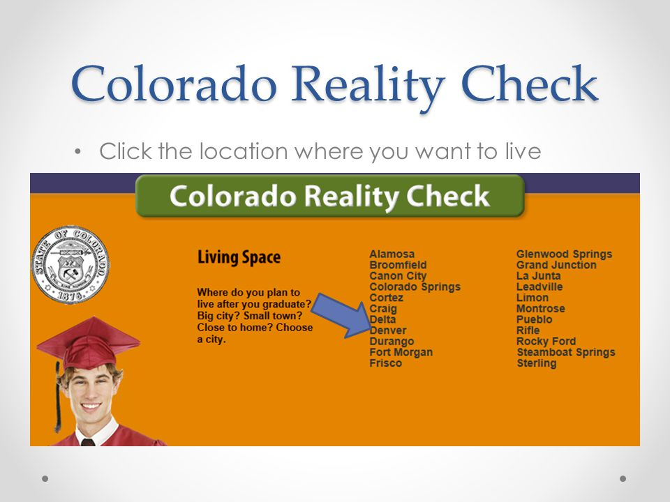Colorado Reality Check Click the location where you want to live