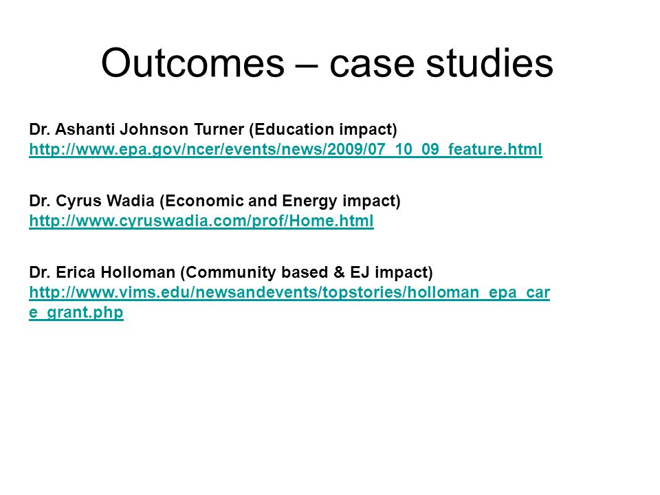 Outcomes – case studies Dr.