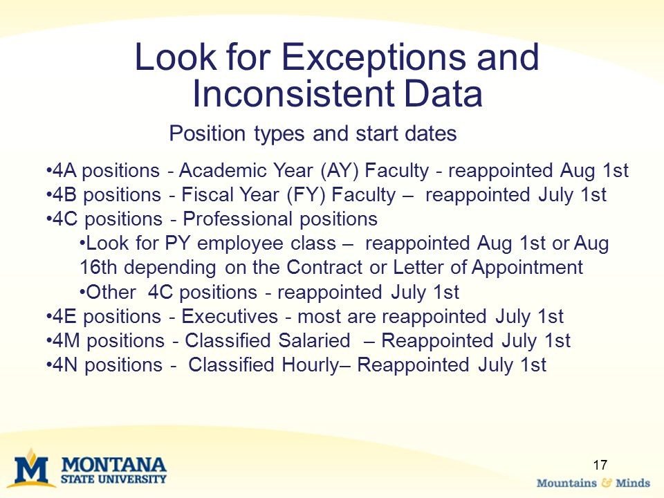 17 Look for Exceptions and Inconsistent Data 4A positions - Academic Year (AY) Faculty - reappointed Aug 1st 4B positions - Fiscal Year (FY) Faculty – reappointed July 1st 4C positions - Professional positions Look for PY employee class – reappointed Aug 1st or Aug 16th depending on the Contract or Letter of Appointment Other 4C positions - reappointed July 1st 4E positions - Executives - most are reappointed July 1st 4M positions - Classified Salaried – Reappointed July 1st 4N positions - Classified Hourly– Reappointed July 1st Position types and start dates