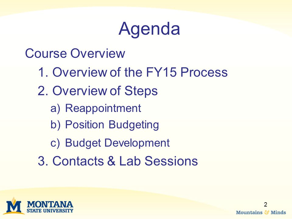 Agenda Course Overview 1.Overview of the FY15 Process 2.Overview of Steps a)Reappointment b)Position Budgeting c)Budget Development 3.Contacts & Lab Sessions 2