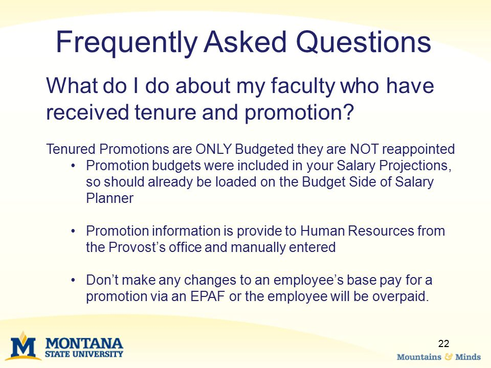 22 What do I do about my faculty who have received tenure and promotion.