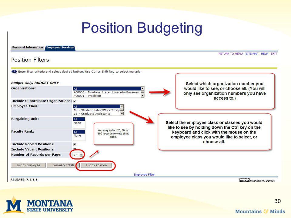 30 Position Budgeting