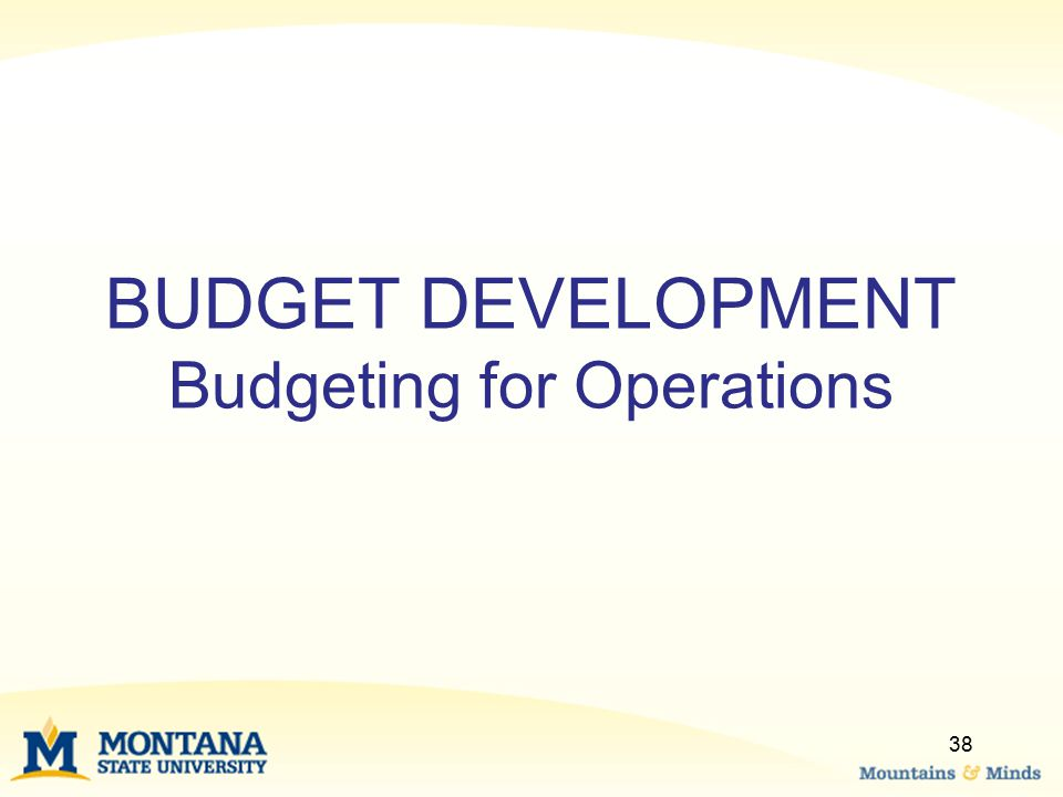 BUDGET DEVELOPMENT Budgeting for Operations 38