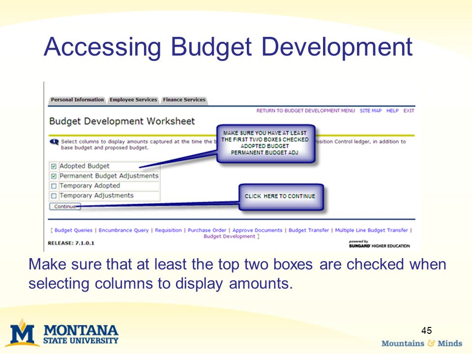 Make sure that at least the top two boxes are checked when selecting columns to display amounts. 45 Accessing Budget Development