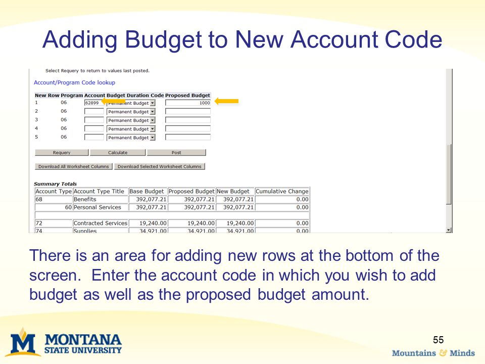 Adding Budget to New Account Code There is an area for adding new rows at the bottom of the screen. Enter the account code in which you wish to add bu