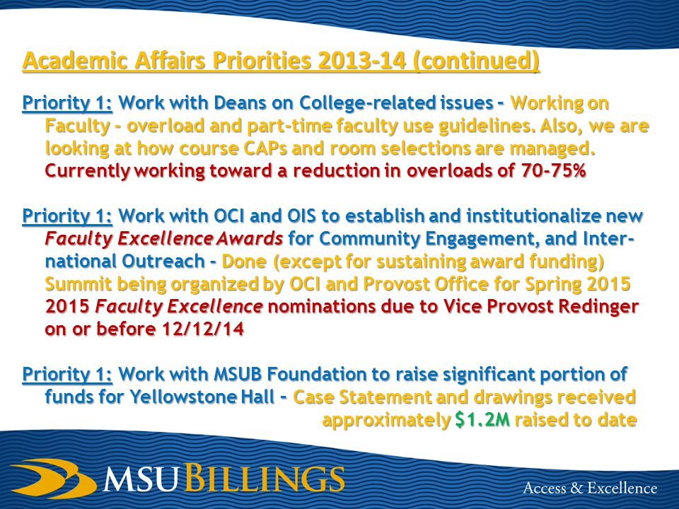 Academic Affairs Priorities 2013-14 (continued) Priority 1: Work with Deans on College-related issues – Working on Faculty - overload and part-time faculty use guidelines.