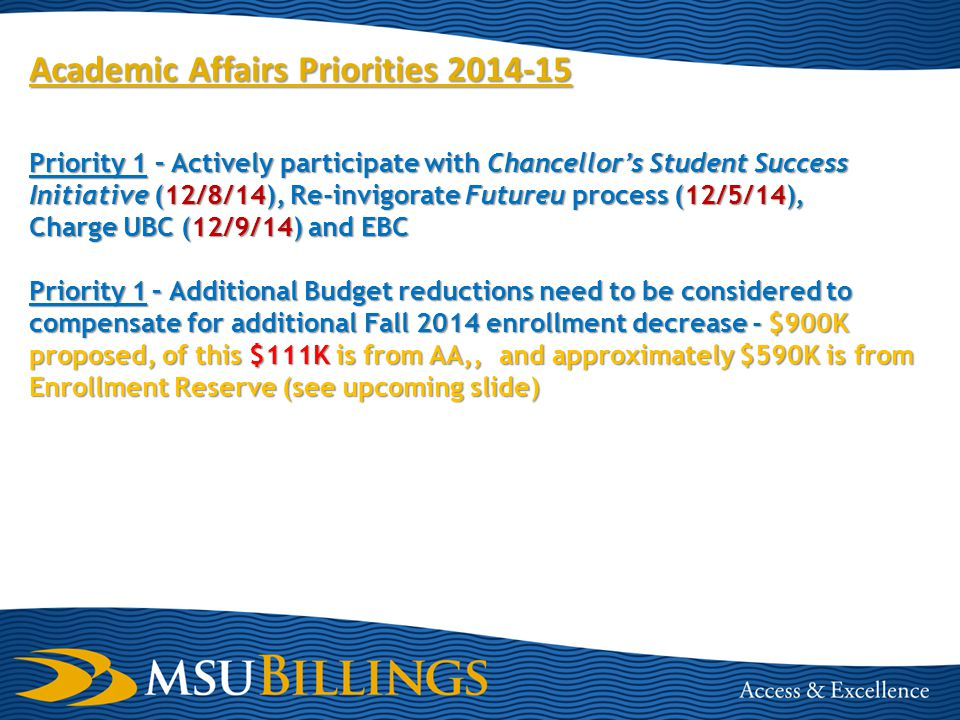 Academic Affairs Priorities 2014-15 Priority 1 – Actively participate with Chancellor's Student Success Initiative (12/8/14), Re-invigorate Futureu process (12/5/14), Charge UBC (12/9/14) and EBC Priority 1– Additional Budget reductions need to be considered to compensate for additional Fall 2014 enrollment decrease -$900K proposed, of this $111K is from AA,, and approximately $590K is from Enrollment Reserve (see upcoming slide) Priority 1 – Additional Budget reductions need to be considered to compensate for additional Fall 2014 enrollment decrease - $900K proposed, of this $111K is from AA,, and approximately $590K is from Enrollment Reserve (see upcoming slide)