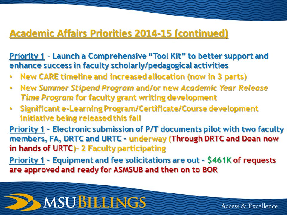 Academic Affairs Priorities 2014-15 (continued) Priority 1 – Launch a Comprehensive Tool Kit to better support and enhance success in faculty scholarly/pedagogical activities New CARE timeline and increased allocation (now in 3 parts) New CARE timeline and increased allocation (now in 3 parts) New Summer Stipend Program and/or new Academic Year Release Time Program for faculty grant writing development New Summer Stipend Program and/or new Academic Year Release Time Program for faculty grant writing development Significant e-Learning Program/Certificate/Course development initiative being released this fall Significant e-Learning Program/Certificate/Course development initiative being released this fall Priority 1 – Electronic submission of P/T documents pilot with two faculty members, FA, DRTC and URTC – underway (Through DRTC and Dean now in hands of URTC)– 2 Faculty participating Priority 1 – Equipment and fee solicitations are out – $461K of requests are approved and ready for ASMSUB and then on to BOR