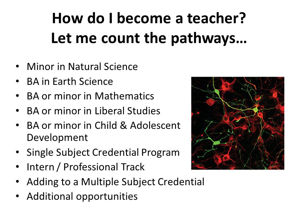 How do I become a teacher? Let me count the pathways… Minor in Natural Science BA in Earth Science BA or minor in Mathematics BA or minor in Liberal S