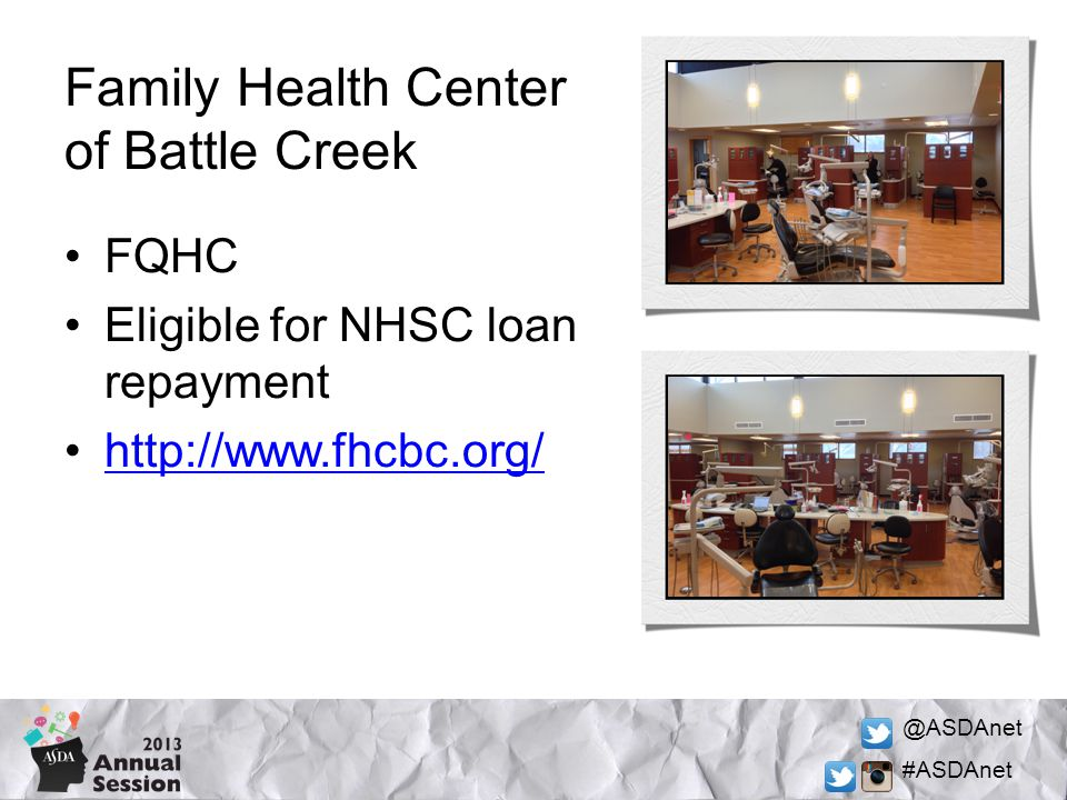@ASDAnet #ASDAnet FQHC Eligible for NHSC loan repayment http://www.fhcbc.org/ Family Health Center of Battle Creek