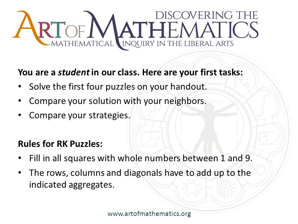 www.artofmathematics.org You are a student in our class.