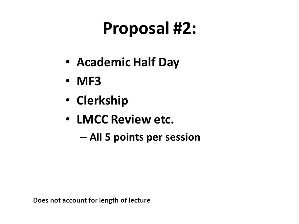 Proposal #2: Academic Half Day MF3 Clerkship LMCC Review etc. – All 5 points per session Does not account for length of lecture