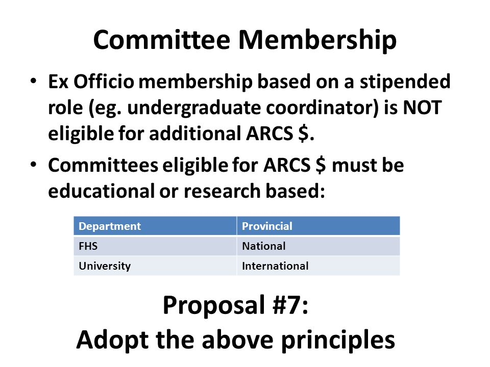 Committee Membership Ex Officio membership based on a stipended role (eg. undergraduate coordinator) is NOT eligible for additional ARCS $. Committees