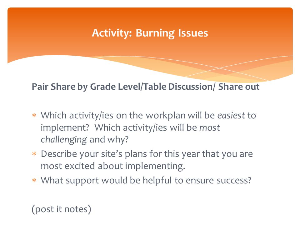Pair Share by Grade Level/Table Discussion/ Share out  Which activity/ies on the workplan will be easiest to implement.