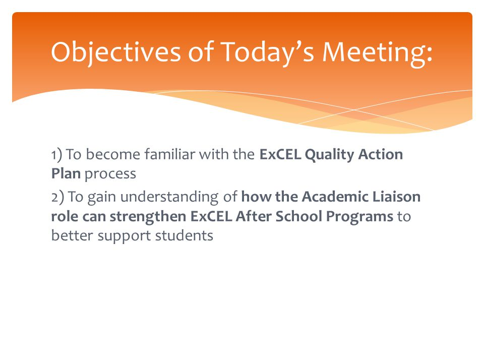  SFUSD Six Strategic Initiatives  ExCEL Theory of Action  ExCEL Evaluation Highlights  ExCEL Program Supports: Cohorts for Restorative Practices and Physical Activity 2014-15 ExCEL Initiatives and Priorities