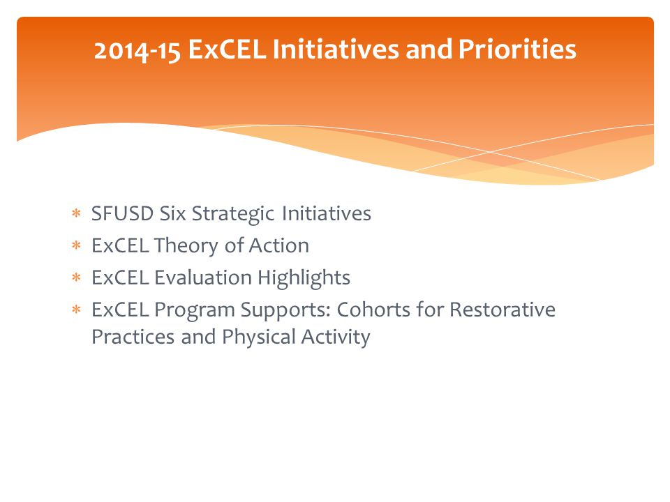 The DISTRICT'S SIX STRATEGIC INTIATIVES:How does ExCEL currently support this district initiative.