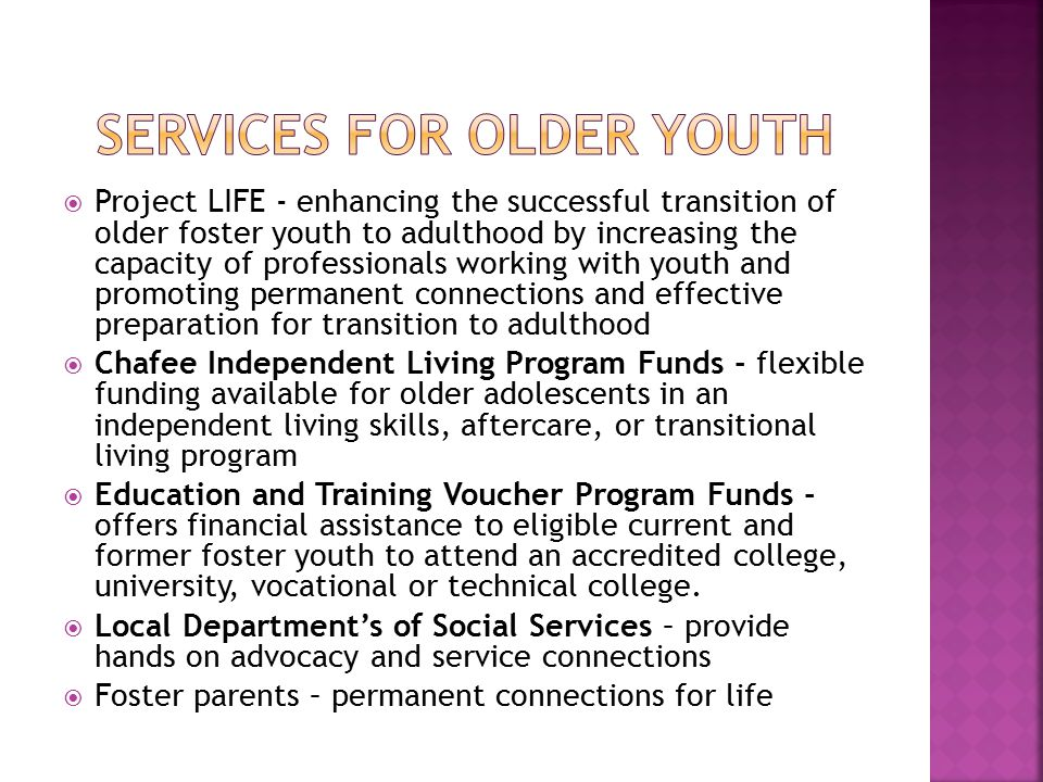  Youth leadership opportunities  Independent living skills workshops and events  Independent Living Skill Assessment  Virginia Youth Advisory Council – opportunities for learning and networking  Regional learning events  Training and technical assistance for local department staff and staff of private child placing agencies – (Chafee and ETV)