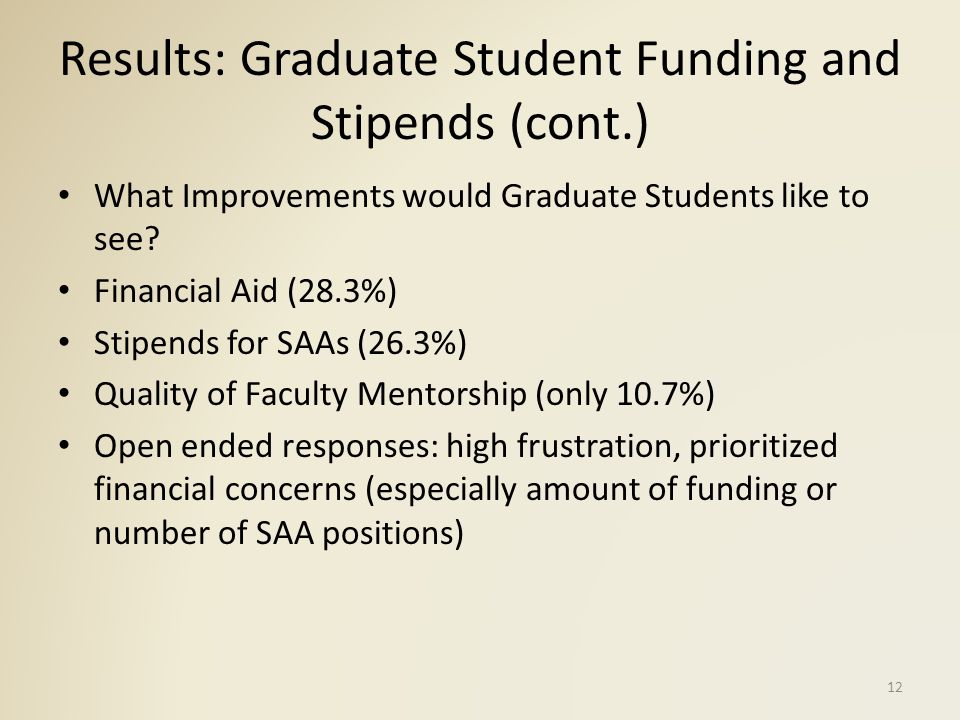 Results: GGS/Chair Survey Recruitment: departments lose up to 50% of top recruits to more competitive offers from other academic institutions Most helpful factors for recruitment: reputation, curriculum, funding Funding also named as main constraint for recruiting top choice Limited resources devoted to graduate student recruitment Increasing number of admissions and relatively constant funding by university 13