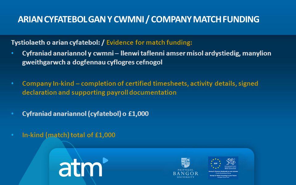 ARIAN CYFATEBOL GAN Y CWMNI / COMPANY MATCH FUNDING Tystiolaeth o arian cyfatebol: / Evidence for match funding: Cyfraniad anariannol y cwmni – llenwi