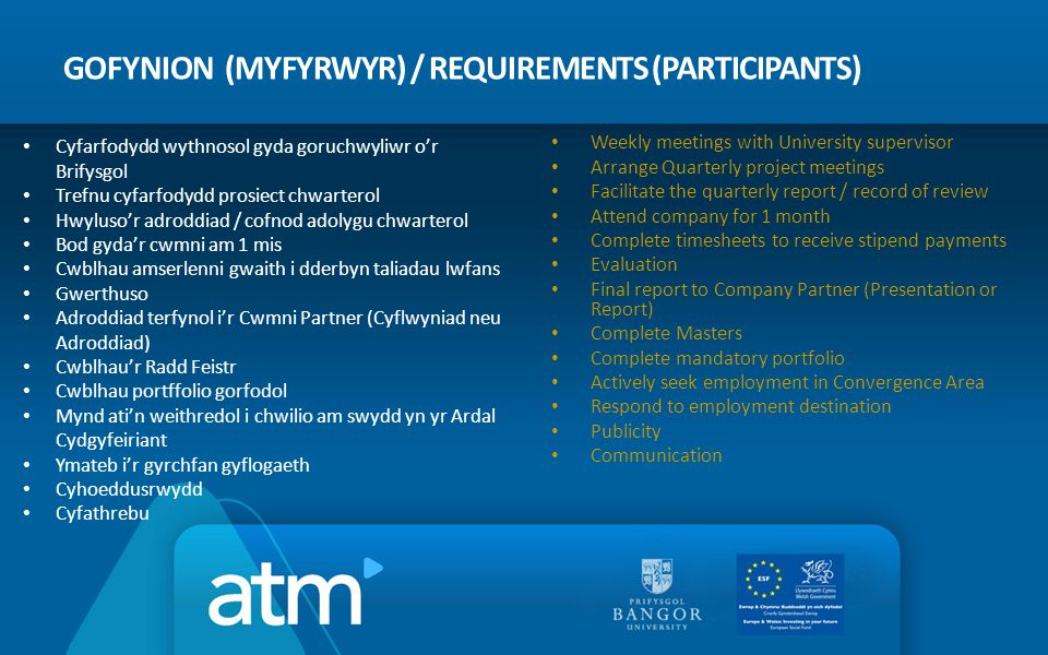 GOFYNION (MYFYRWYR) / REQUIREMENTS (PARTICIPANTS) Weekly meetings with University supervisor Arrange Quarterly project meetings Facilitate the quarter