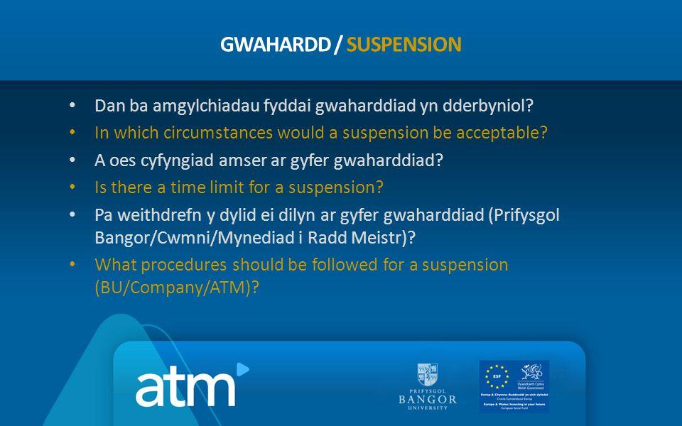 Dan ba amgylchiadau fyddai gwaharddiad yn dderbyniol? In which circumstances would a suspension be acceptable? A oes cyfyngiad amser ar gyfer gwahardd