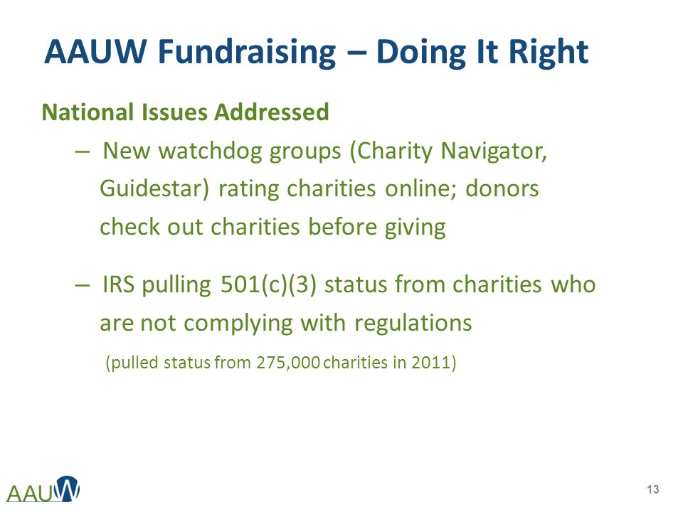 AAUW Fundraising – Doing It Right National Issues Addressed – New watchdog groups (Charity Navigator, Guidestar) rating charities online; donors check