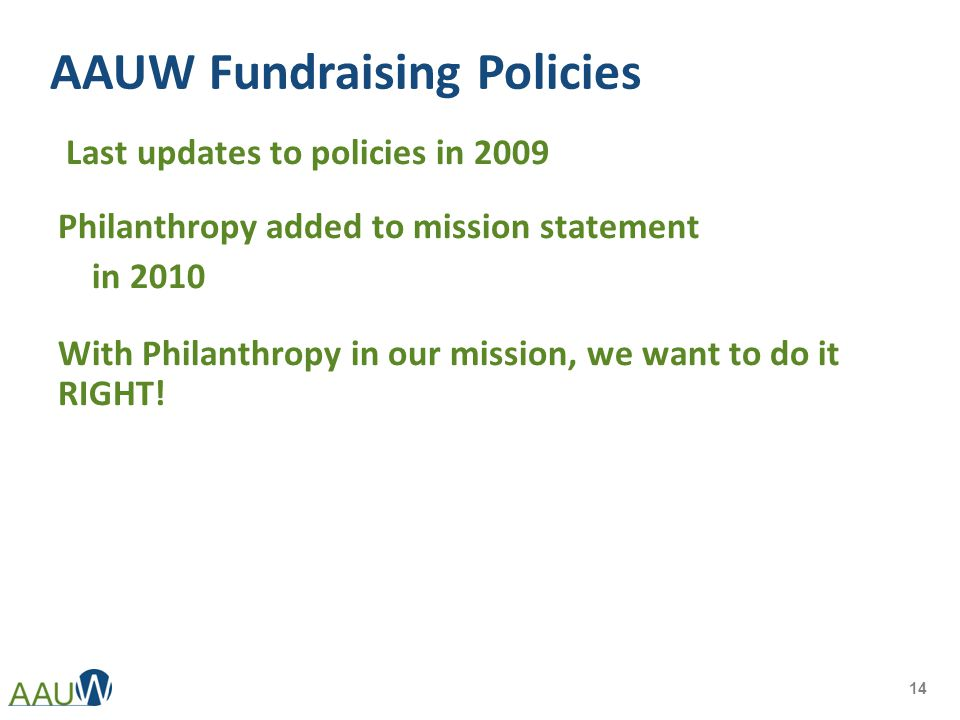 AAUW Fundraising Policies Last updates to policies in 2009 Philanthropy added to mission statement in 2010 With Philanthropy in our mission, we want to do it RIGHT.