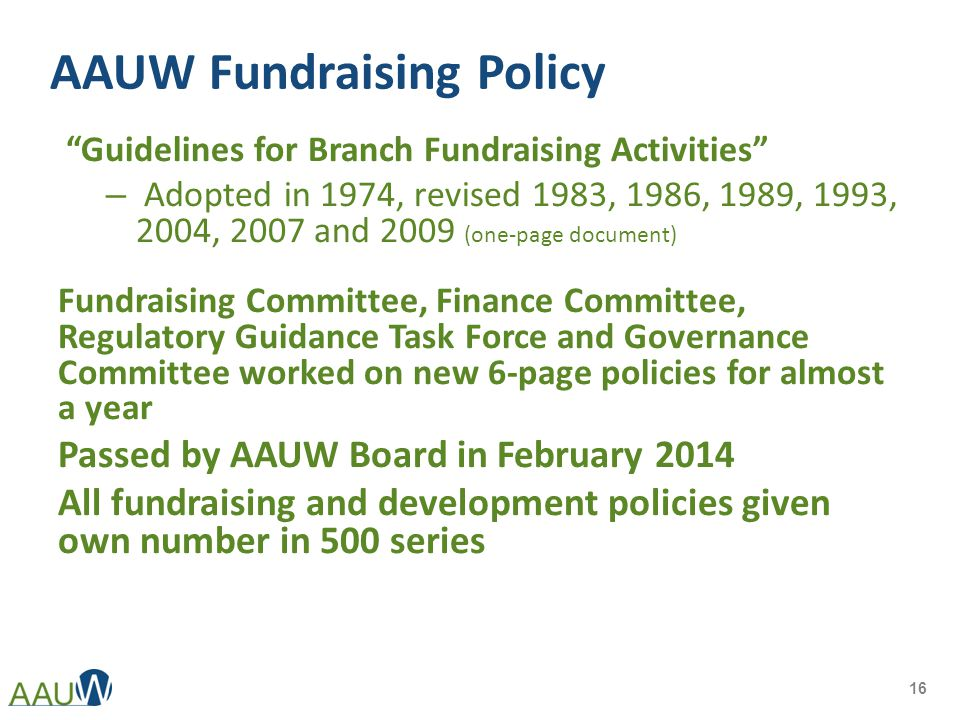 """AAUW Fundraising Policy """"Guidelines for Branch Fundraising Activities"""" – Adopted in 1974, revised 1983, 1986, 1989, 1993, 2004, 2007 and 2009 (one-pag"""