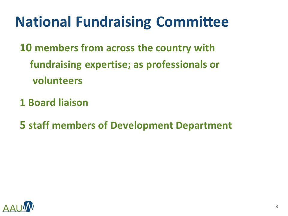 National Fundraising Committee 10 members from across the country with fundraising expertise; as professionals or volunteers 1 Board liaison 5 staff m