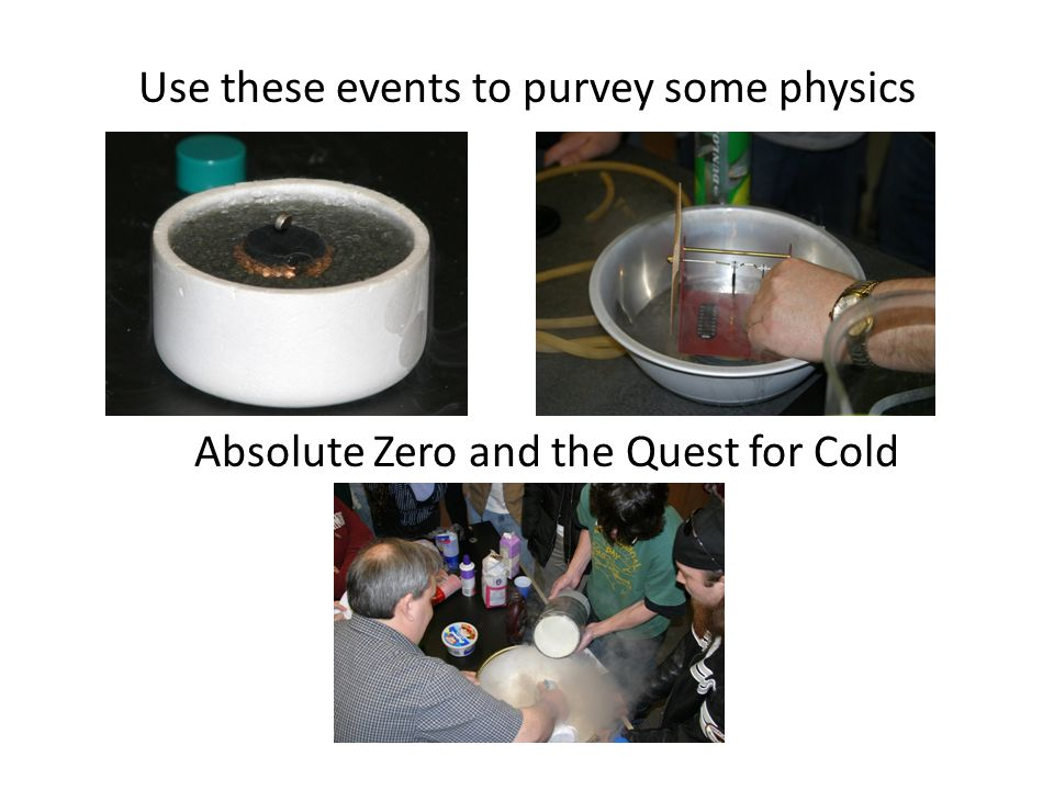 Use these events to purvey some physics Absolute Zero and the Quest for Cold