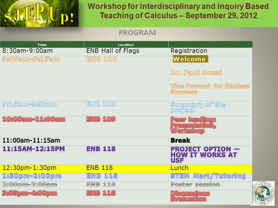 Workshop for Interdisciplinary and Inquiry Based Teaching of Calculus – September 29, 2012 15 PROGRAM TimeLocation 8:30am-9:00amENB Hall of FlagsRegistration 12:30pm-1:30pmENB 118Lunch