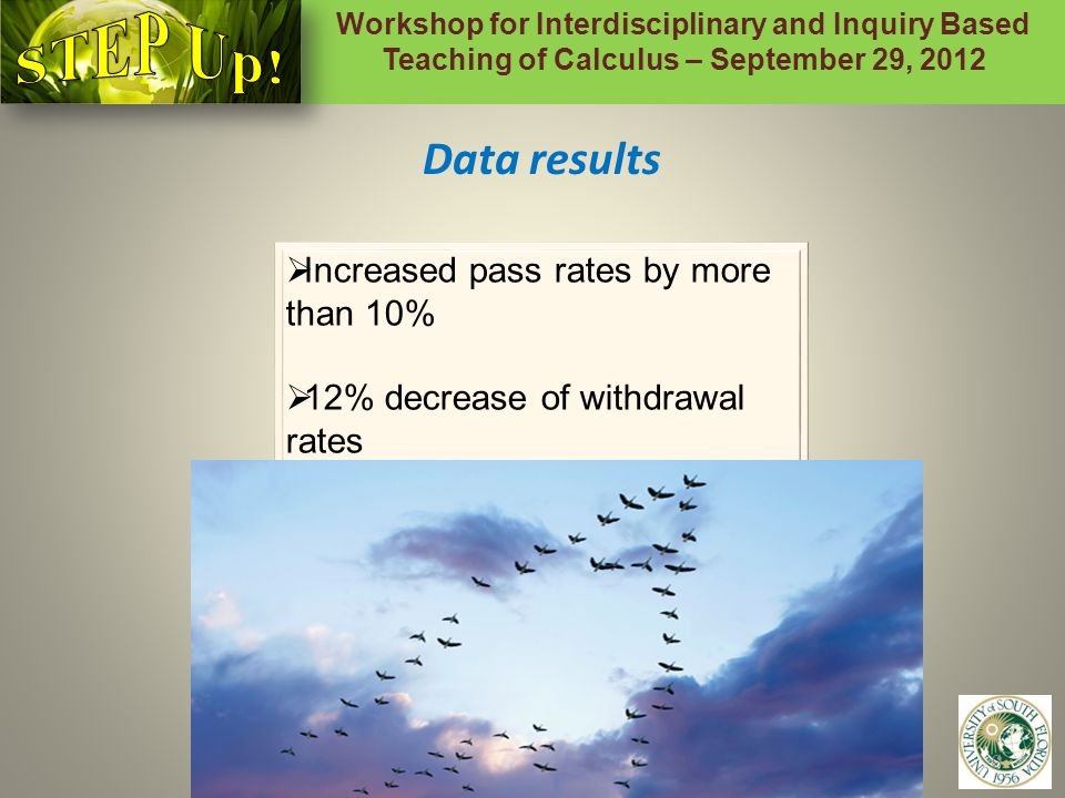 Workshop for Interdisciplinary and Inquiry Based Teaching of Calculus – September 29, 2012 9 Data results  Increased pass rates by more than 10%  12% decrease of withdrawal rates