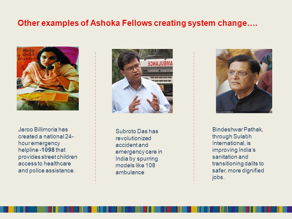 Other examples of Ashoka Fellows creating system change….