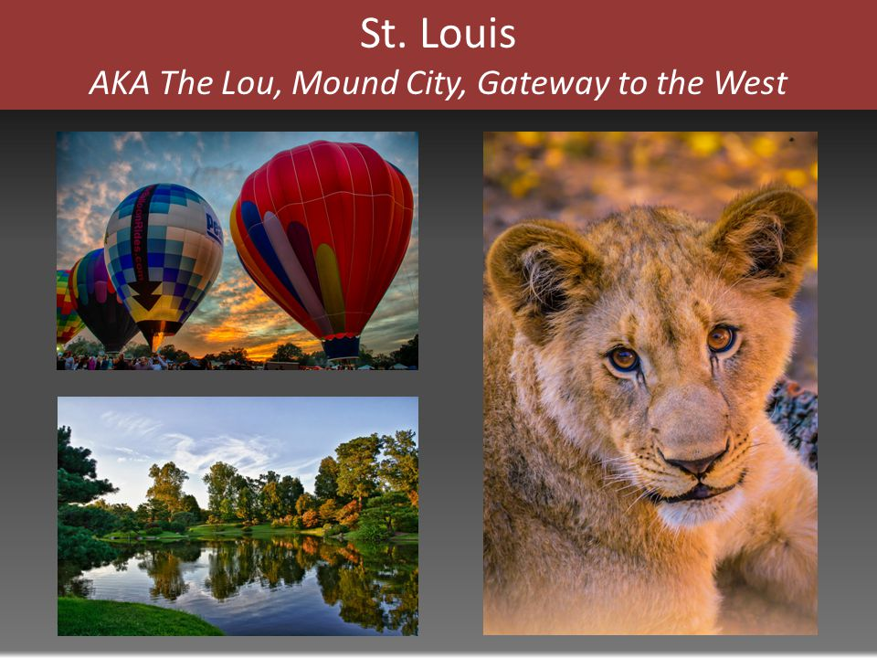 St. Louis AKA The Lou, Mound City, Gateway to the West