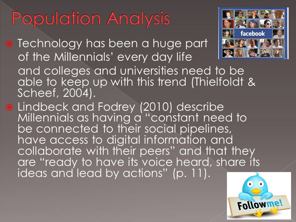 Technology has been a huge part of the Millennials' every day life and colleges and universities need to be able to keep up with this trend (Thielfoldt & Scheef, 2004).