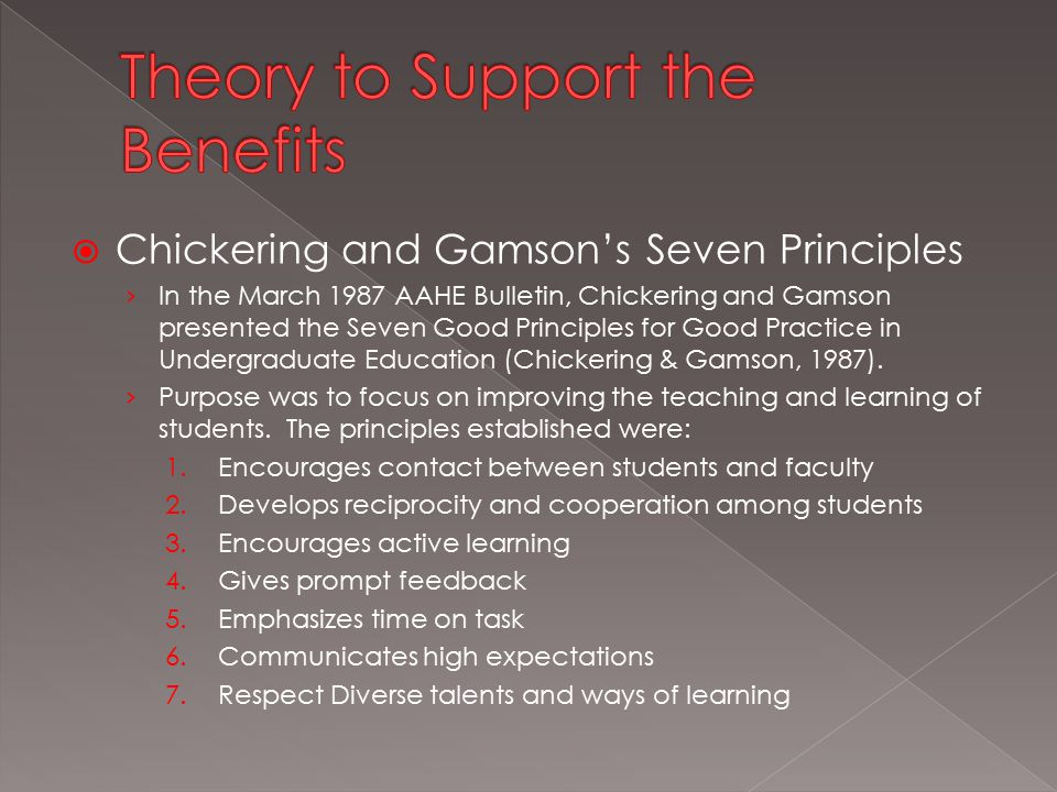  Chickering and Gamson's Seven Principles › In the March 1987 AAHE Bulletin, Chickering and Gamson presented the Seven Good Principles for Good Practice in Undergraduate Education (Chickering & Gamson, 1987).