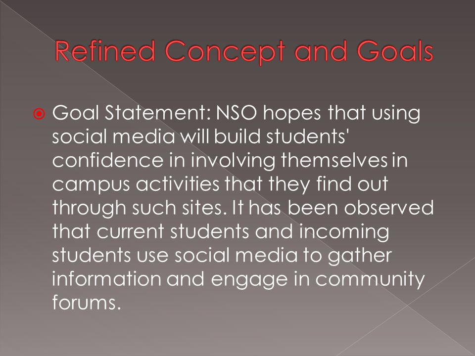  Goal Statement: NSO hopes that using social media will build students confidence in involving themselves in campus activities that they find out through such sites.