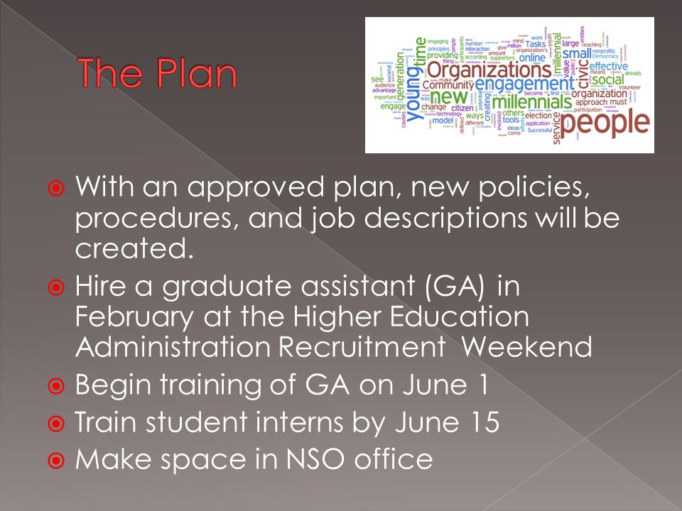  With an approved plan, new policies, procedures, and job descriptions will be created.