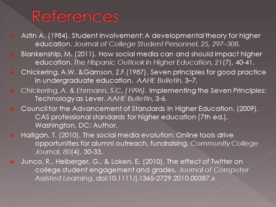  Astin A. (1984). Student involvement: A developmental theory for higher education.