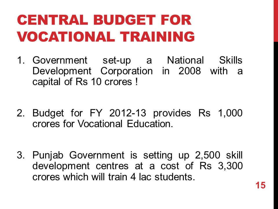 CENTRAL BUDGET FOR VOCATIONAL TRAINING 1.Government set-up a National Skills Development Corporation in 2008 with a capital of Rs 10 crores .