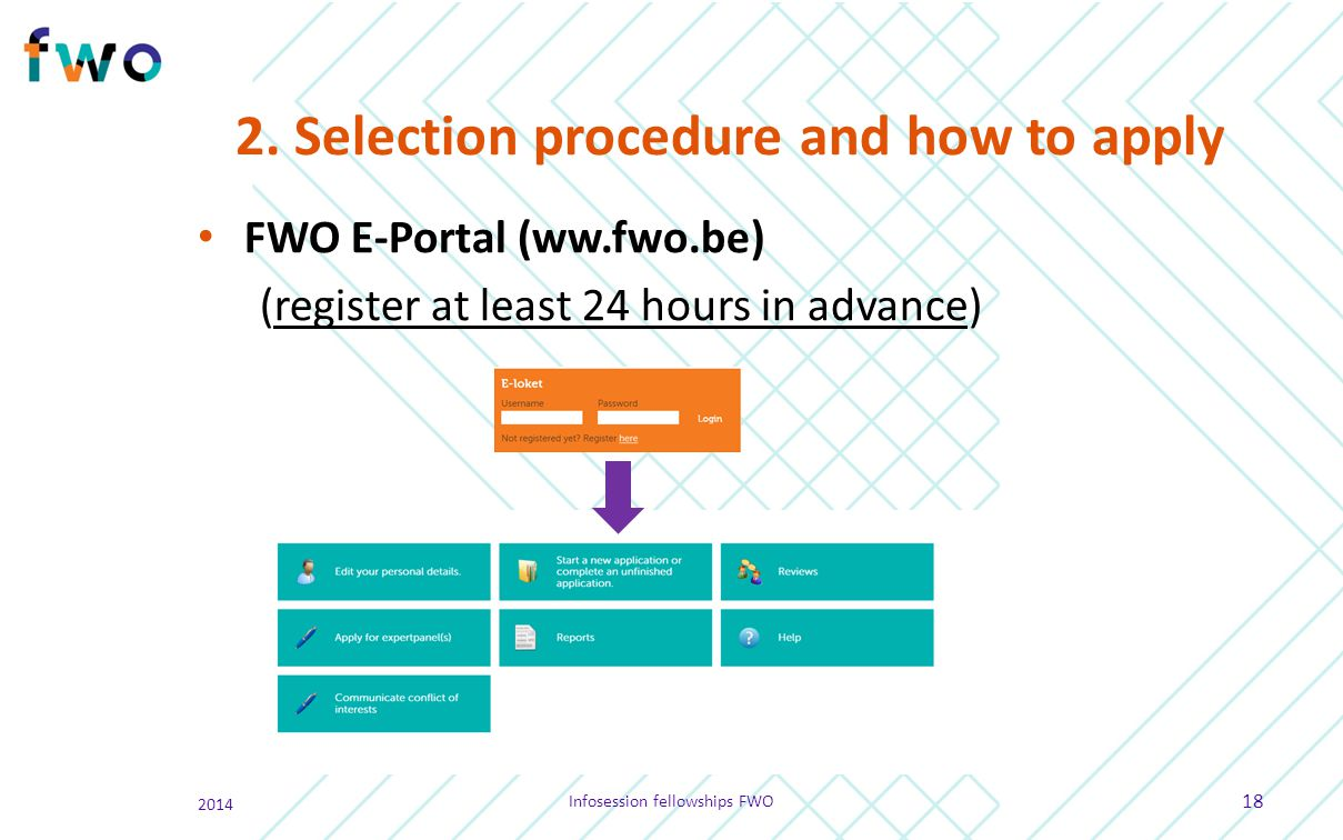 2. Selection procedure and how to apply FWO E-Portal (ww.fwo.be) (register at least 24 hours in advance) 2014 Infosession fellowships FWO 18