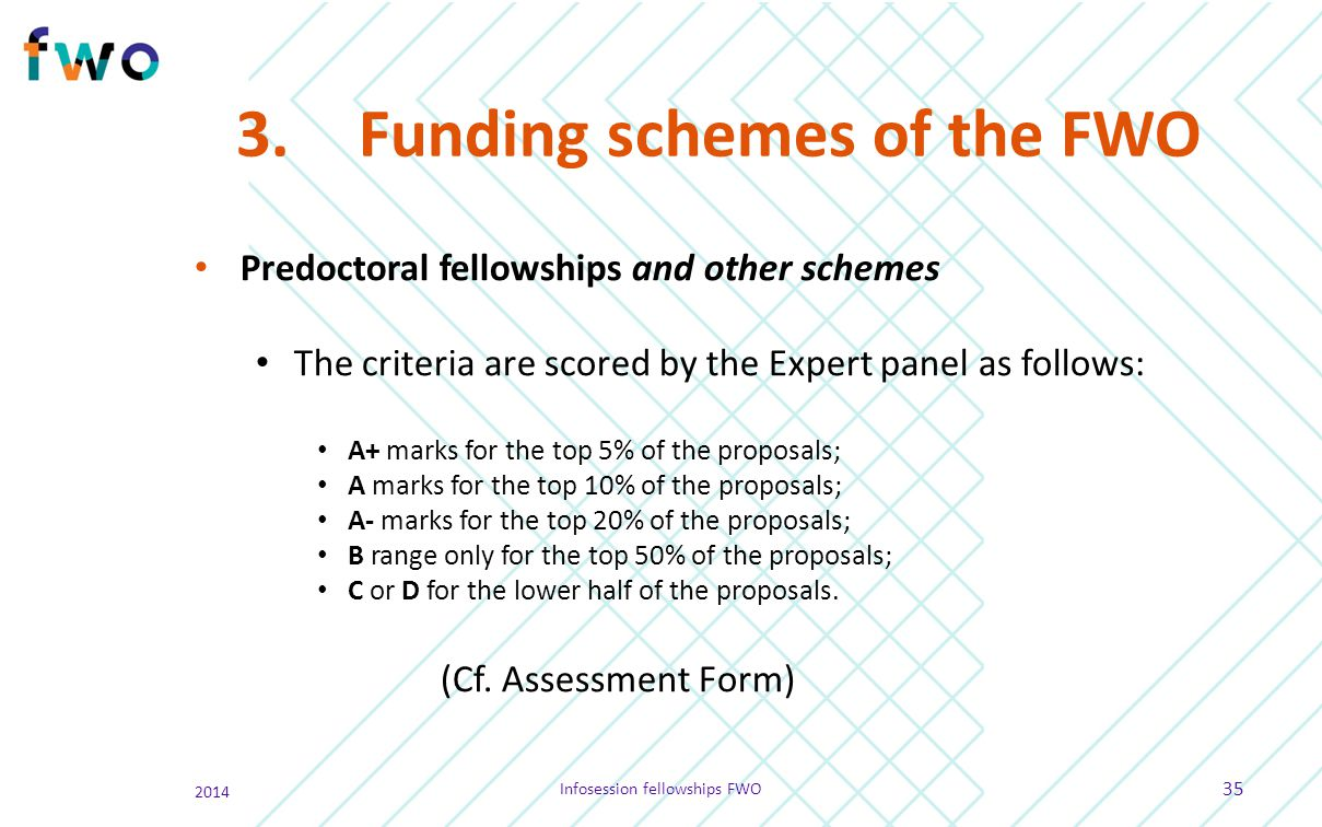 3.Funding schemes of the FWO Predoctoral fellowships and other schemes The criteria are scored by the Expert panel as follows: A+ marks for the top 5%